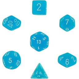 SET 7 DADOS CHESSEX FROSTED CARIBBEAN BLUE / WHITE