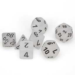 SET 7 DADOS CHESSEX FROSTED CLEAR / BLACK