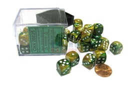 BLOQUE 36 DADOS D6 CHESSEX GEMINI GOLD / GREEN / WHITE