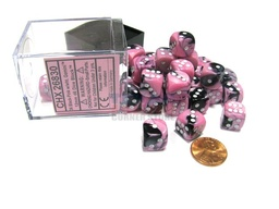 BLOQUE 36 DADOS D6 CHESSEX GEMINI BLACK / PINK / WHITE
