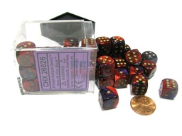BLOQUE 36 DADOS D6 CHESSEX GEMINI PURPLE / RED / GOLD