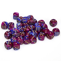 BLOQUE 36 DADOS D6 CHESSEX GEMINI BLUE / PURPLE / GOLD